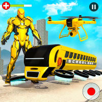 Flying School Bus Robot: Hero Robot Games  34 APK MOD (Unlimited Everything)
